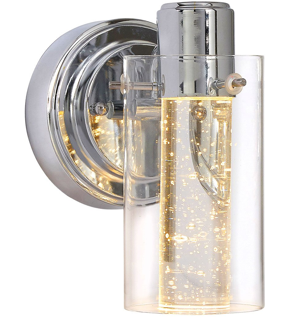Polished Bubble Glass Single Light Sconce Fixture | Glass Surrounded LED Lighting Fixture | Vanity, Bedroom, or Bathroom | Interior Lighting - SOPHISTICATED DESIGN: A polished clean design with beautiful lines and a simple feel. A polished chrome base holds a glass surrounded bubble glass illuminated cylinder. The integrated LED light illuminates the glass piece with exceptional color accuracy. 3000K LED lights offering a warm feel unlike the harsh fluorescent white-light alternatives. SAFE AND EASY TO INSTALL: Our authentic indoor dimmable lights are ETL & cETL Certified for the US and Canada. Energy efficient with 50,000 hours rated lifetime. Instant on, no flicker, no UV, mercury free light. 8W, 500L, 120V 80+ CRI. Dimmable using conventional LED dimmers. Full instructions included with standard three wire install makes installation a breeze. 3 GENERATIONS OF EXCELLENCE: Our family has been manufacturing and producing household fixtures and decorative pieces for over 3 generations. We stand by the quality of our product and your experience. A family owned business with simple principles. Affordable quality in America. - bathroom-lights, bathroom-fixtures-hardware, bathroom - 71G12 c8FuL -