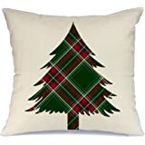 AENEY Christmas Tree Throw Pillow Cover 18 x 18 for Couch Vintage Christmas Decorations Farmhouse Home Decor Christmas Decorative Pillowcase Faux Linen Cushion Case for Sofa