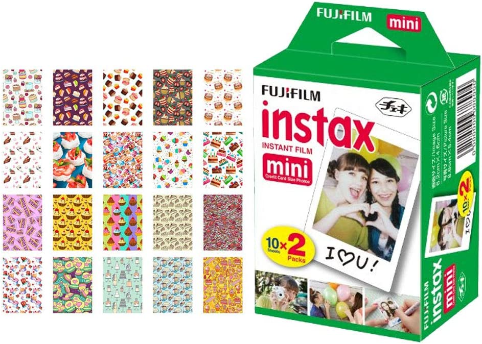 Fujifilm instax Mini Instant Film (20 Exposures) + 20 Sticker Frames for Fuji Instax Prints Cake Package