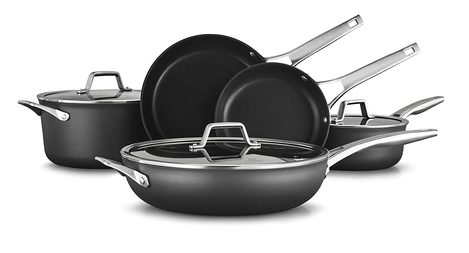 Calphalon 2029617 Premier Hard-Anodized Nonstick 8-Piece Cookware Set, Black