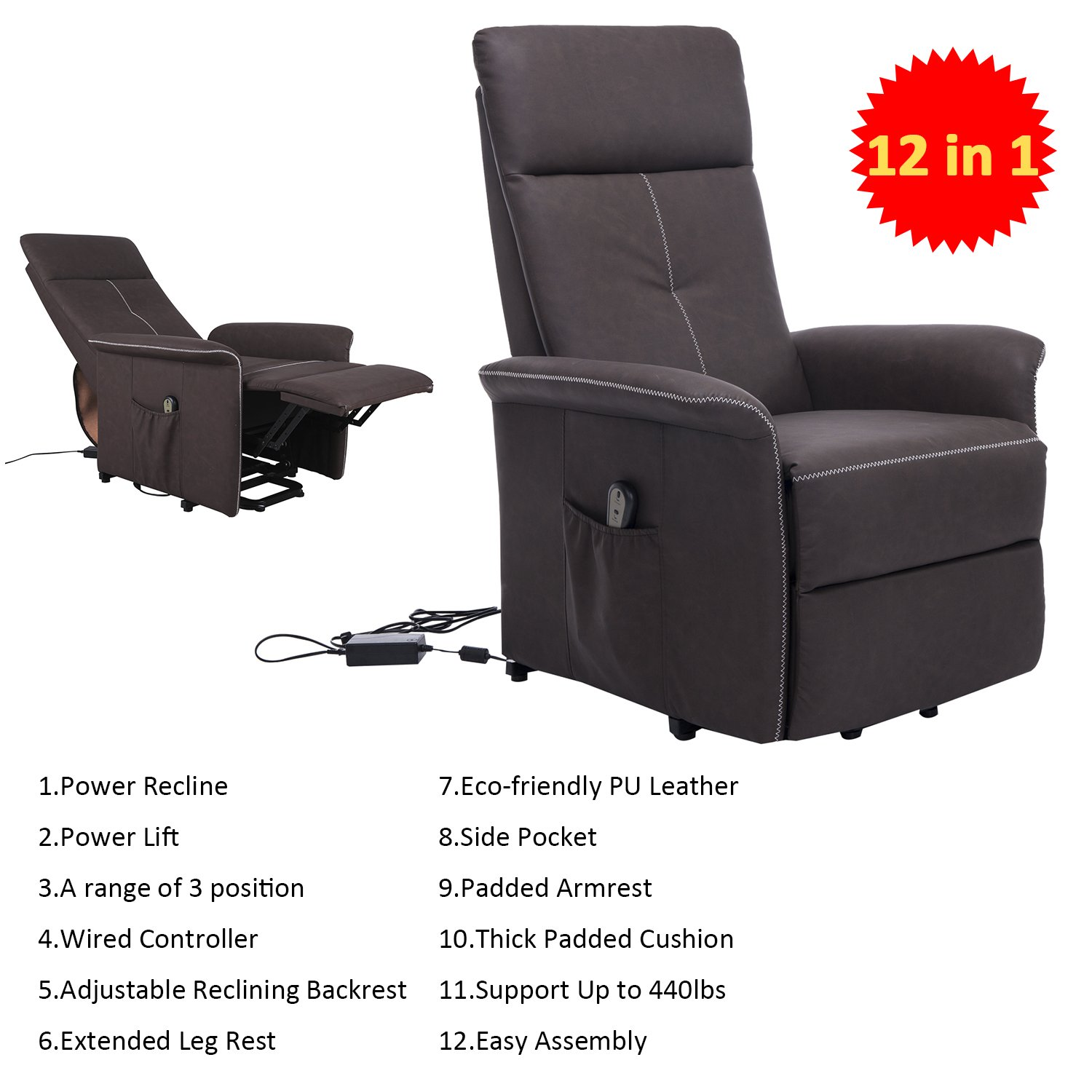 Easy chair recliner - Amazon Com Homcom 45 3 Position Electric Lift Chair Recliner Brown Home Kitchen
