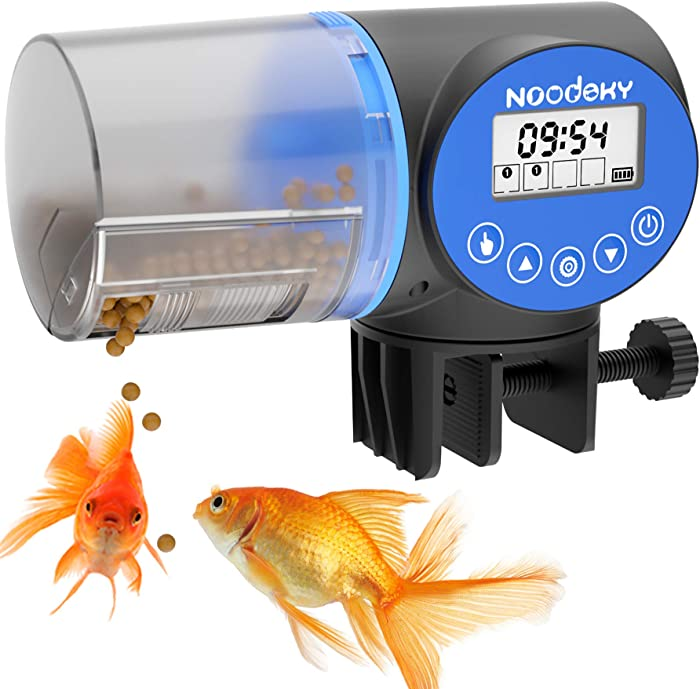 Noodoky Automatic Fish Feeder, Moisture-Proof Electric Auto Fish Food Feeder Timer Dispenser for Aquarium or Small Fish Turtle Tank, Auto Feeding on Vacation or Holidays