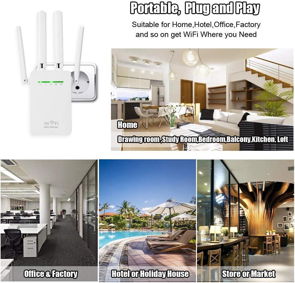 Amplificador Señal WiFi, 300Mbps/2.4 GHz Repetidores WiFi ...