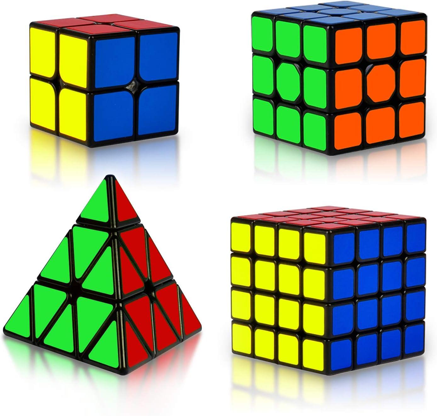 EasyGame Puzzle de cube magique 3X3 Cube magique 3x3 Pyraminx Cube noir cube Megaminx Cube de vitesse: 2x2 Cube magique Cube de miroir argent/é