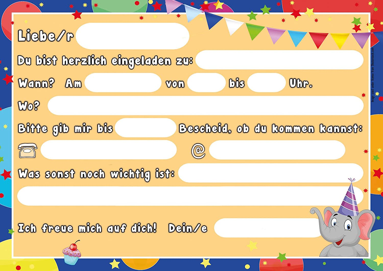 """12 Einladungskarten zum Kindergeburtstag """"Zoo Tiere"""