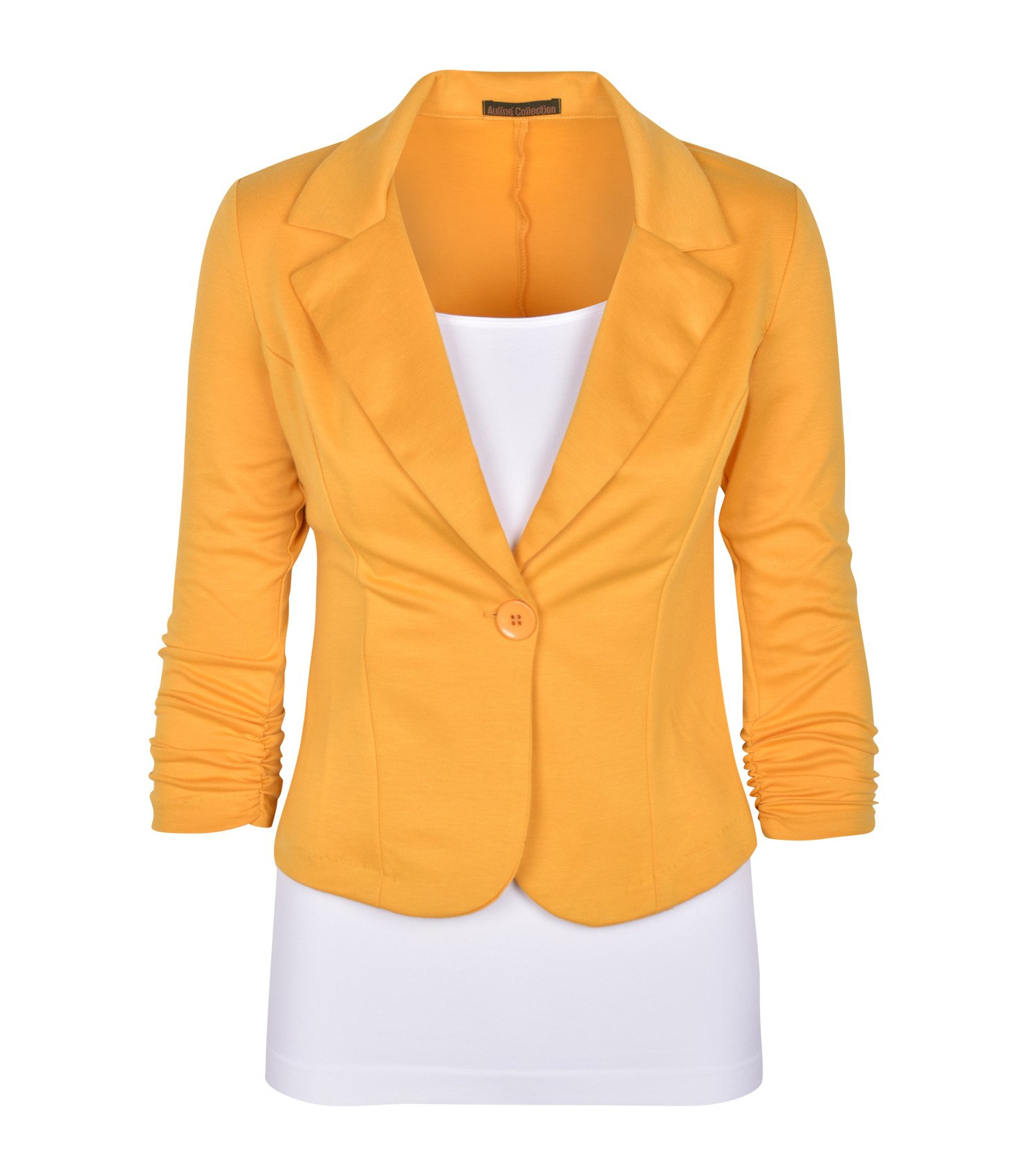 Auliné Collection Women's Casual Work Solid Color Knit Blazer Mustard 1X
