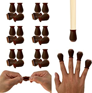 """Extra Small Silicone Chair Leg Floor Protectors with Felt, FIT 0.5"""" to 1"""" Glide Chair Leg Caps Silicon Furniture Leg Feet Cover Bottom Slide Protect Hardwood Floors No Scratches No Noise 24 Pack"""