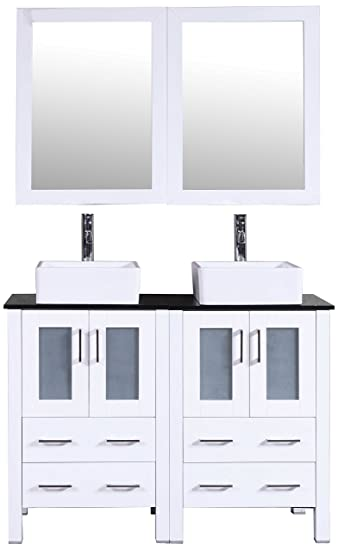 Bosconi Bathroom Vanities 48 Double Vanity Set With Square Vessel