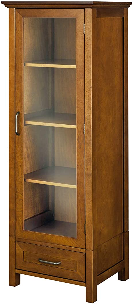 Elegant Home Fashion Avery Linen Tower Tall Slim Narrow Wooden Bathroom Kitchen Multifunctional Storage With Glass Panel Door 4 Tiered Shelves 1 Drawer Oil Oak Brown Furniture Decor Amazon Com