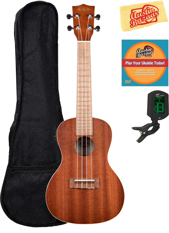 Kala KA-CE Mahogany Concert Acoustic-Electric Ukulele Bundle with Gig Bag, Clip-On Tuner, Austin Bazaar Instructional DVD, and Polishing Cloth