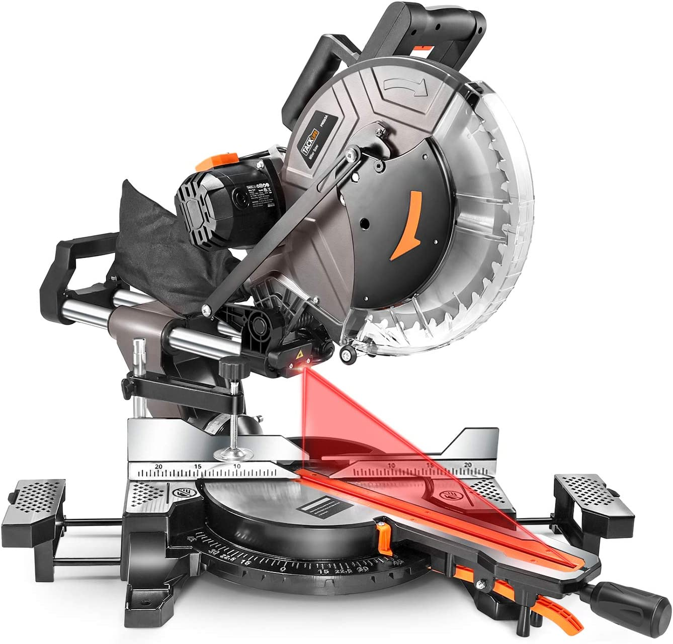 TACKLIFE Sliding Miter Saw, 12inch 15Amp Double-Bevel Compound Miter Saw with Laser, Adjustable Cutting Angle, Extensible Table, 3800rpm, Clamping Device,10ft 3Meters Cable, 40T Blade – PMS03A