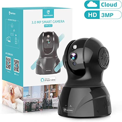 HeimVision 3MP Wireless Security Camera, HM302 Indoor WiFi Pet Camera, PTZ Home HD IP Camera for Baby Nanny Monitor, Night Vision, 2 Way Audio, Motion Face Dection, Cloud SD Storage, Works with Alexa