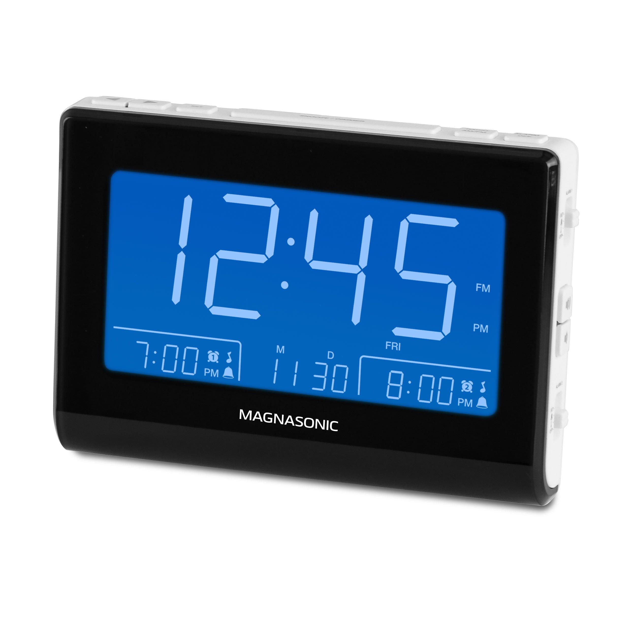 Magnasonic Alarm Clock Radio with USB Charging for Smartphones & Tablets, Auto Dimming, Dual Gradual Wake Alarm, Battery Backup, Auto Time Set, Large 4.8'' LED Display, AM/FM (CR63W)