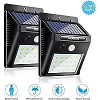 GEARGO Foco Solar 20 LED Luces Solares Exterior 1200mAh Lámparas Solares de Pared con 3 Modos y Sensor de Movimiento IP65 Impermeable Gran Ángulo 120° para Patio, Jardín, Terraza, Camino