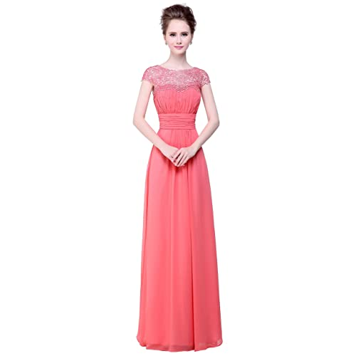 Bislu Cap Sleeve Lace Neckline Ruched Bust Prom Evening Gown Bridesmaid Dress