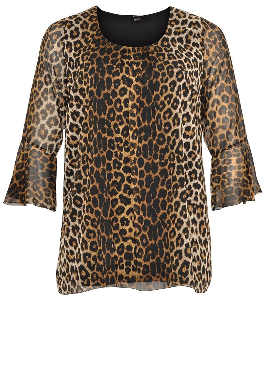 Yoek Damen Bluse mit Tierdruck Plus Size