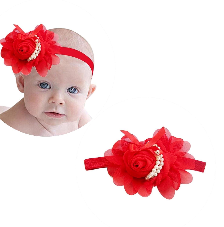 958fa6828ead Ziory Chiffon Pearl Headband Rose Satin Bow Hairband for Girls  Amazon.in   Jewellery