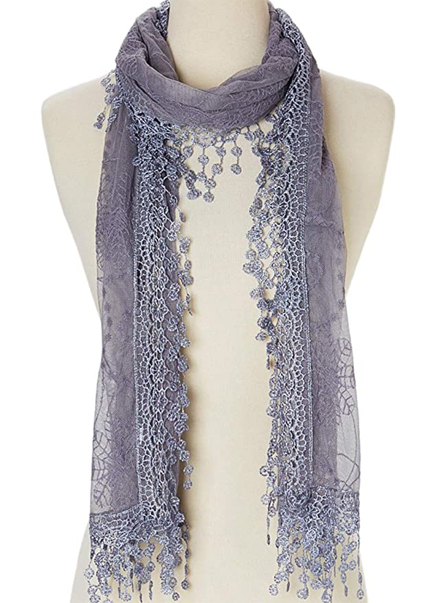 Cindy and Wendy Lightweight Soft Leaf Lace Fringes Scarf shawl for Women (TYH-GRAY)