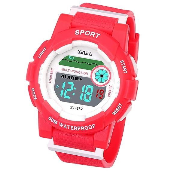 Reloj Digital para niños y niñas, Resistente al Agua, Reloj de Pulsera Digital con Despertador, cronómetro, Fecha, Semana y Calendario: Amazon.es: Relojes
