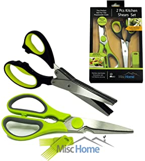 [BONUS SET] 2 Pcs Heavy Duty Kitchen Shears U0026 Gourmet Herb Scissors With 2