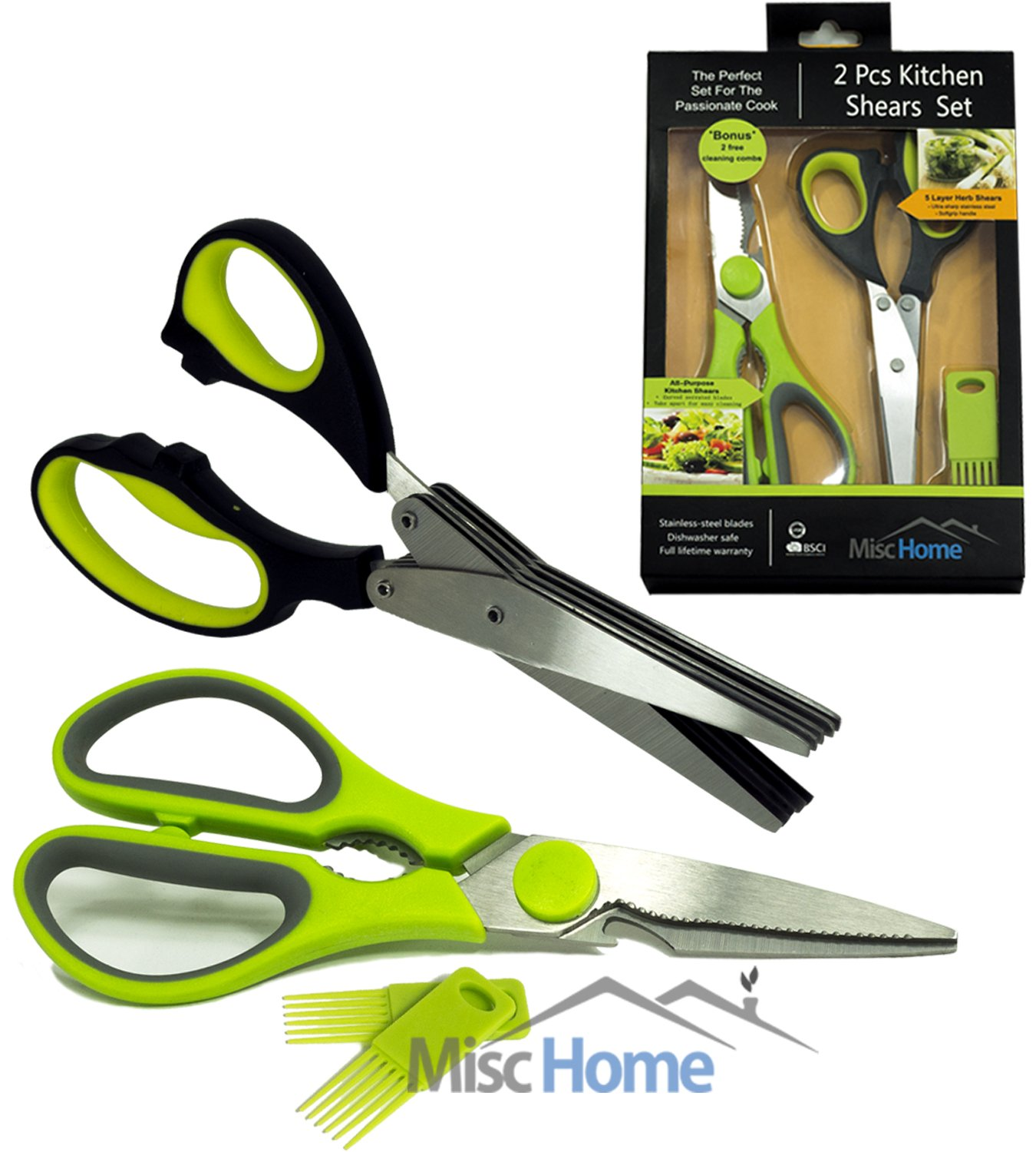 [BONUS SET] 2 Pcs Heavy Duty Kitchen Shears & Gourmet Herb Scissors with 2 Bonus Blade Combs Multi-Purpose Kitchen Scissors Made from Stainless Steel Life-Time Guarantee Dishwasher Safe