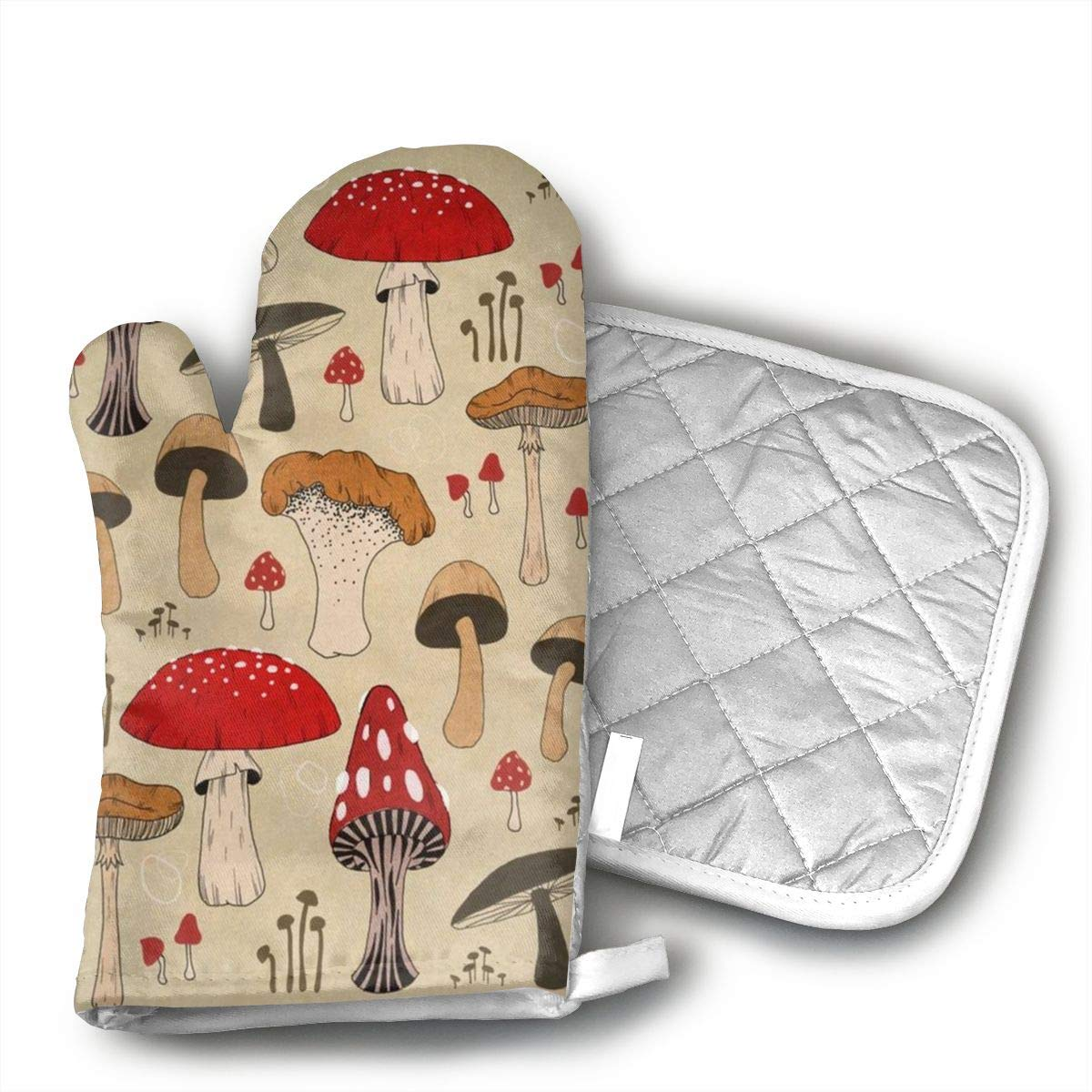 CHWEYAQ The Various Mushroom Art Oven Mitts,Professional Heat Resistant Microwave Oven Insulation Thickening Gloves Soft Inner Lining Kitchen Cooking Mittens