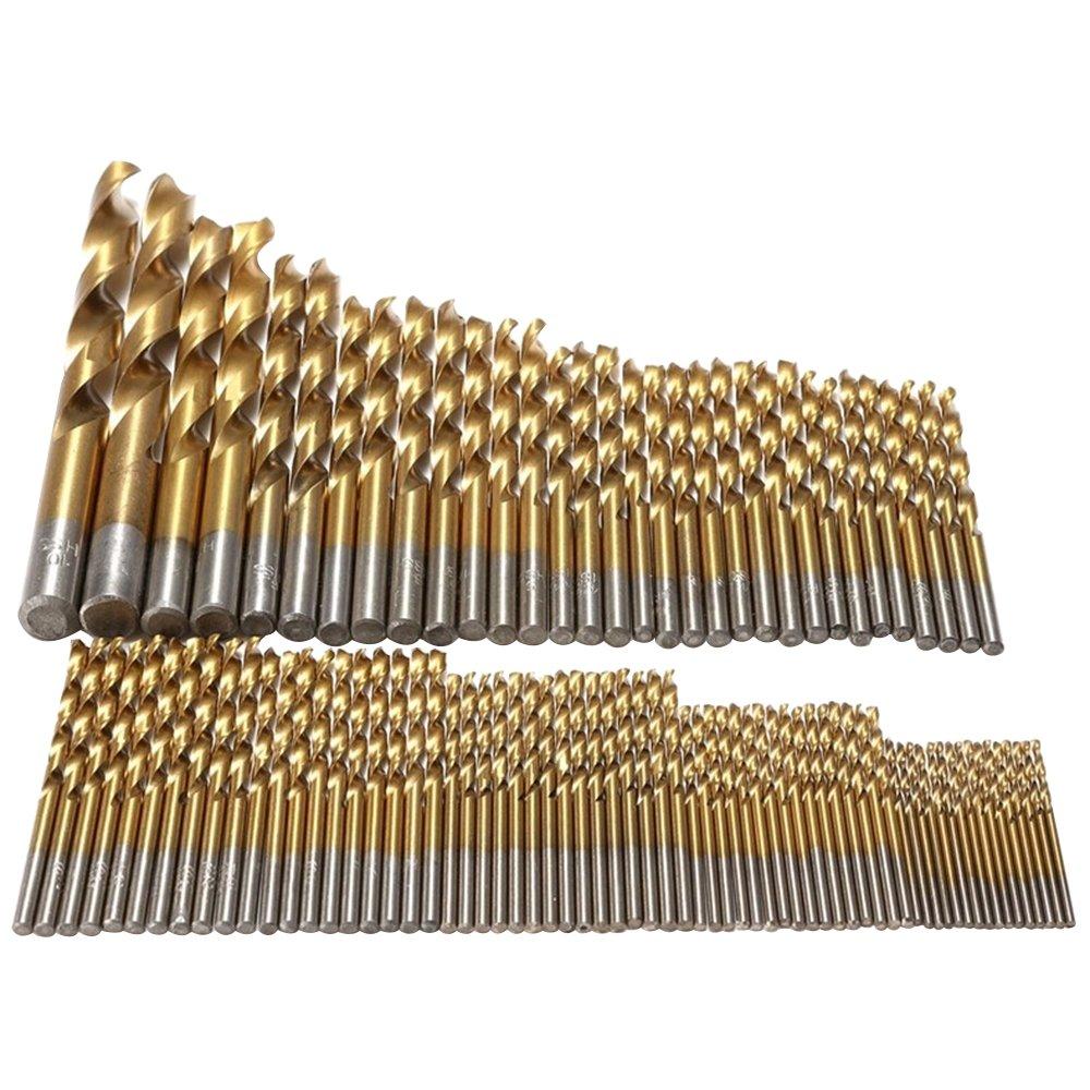 Polytree 99 Pcs Titanizing Coated HSS High Speed Steel Drill Bit Set Tool 1.5mm - 10mm