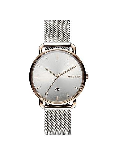 Meller Reloj Analógico para Unisex Adultos de Cuarzo con Correa en Acero Inoxidable W3RP-2SILVER: Amazon.es: Relojes