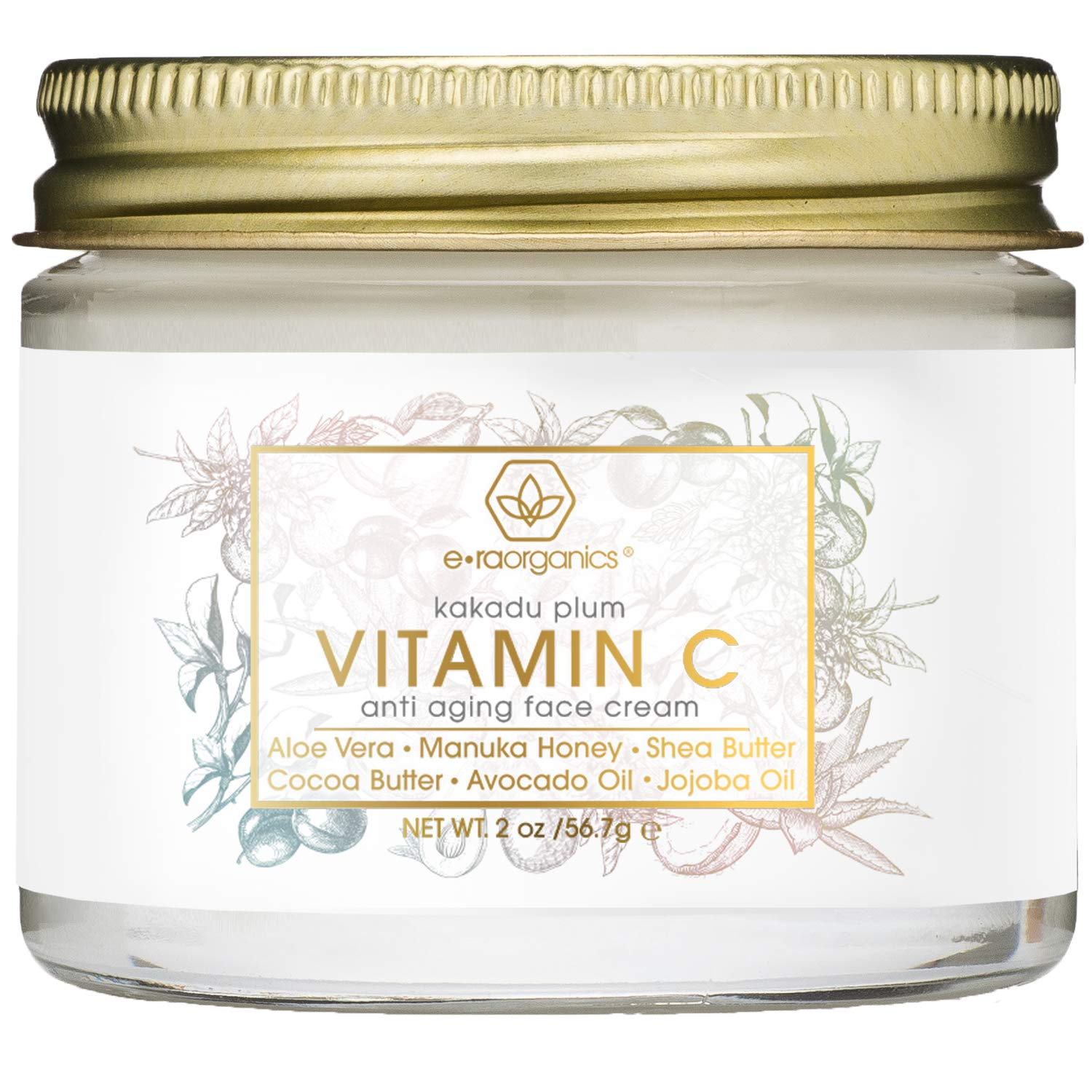 Vitamin-C Face Moisturizer & Eye Cream - Revitalizing Natural Anti Aging Moisturizer With Kakadu Plum, Jojoba Oil, Avocado Oil, Vitamin E for Dry Skin Care, Wrinkles, Aging & Eye Bags 2oz Era-Organics by Era Organics