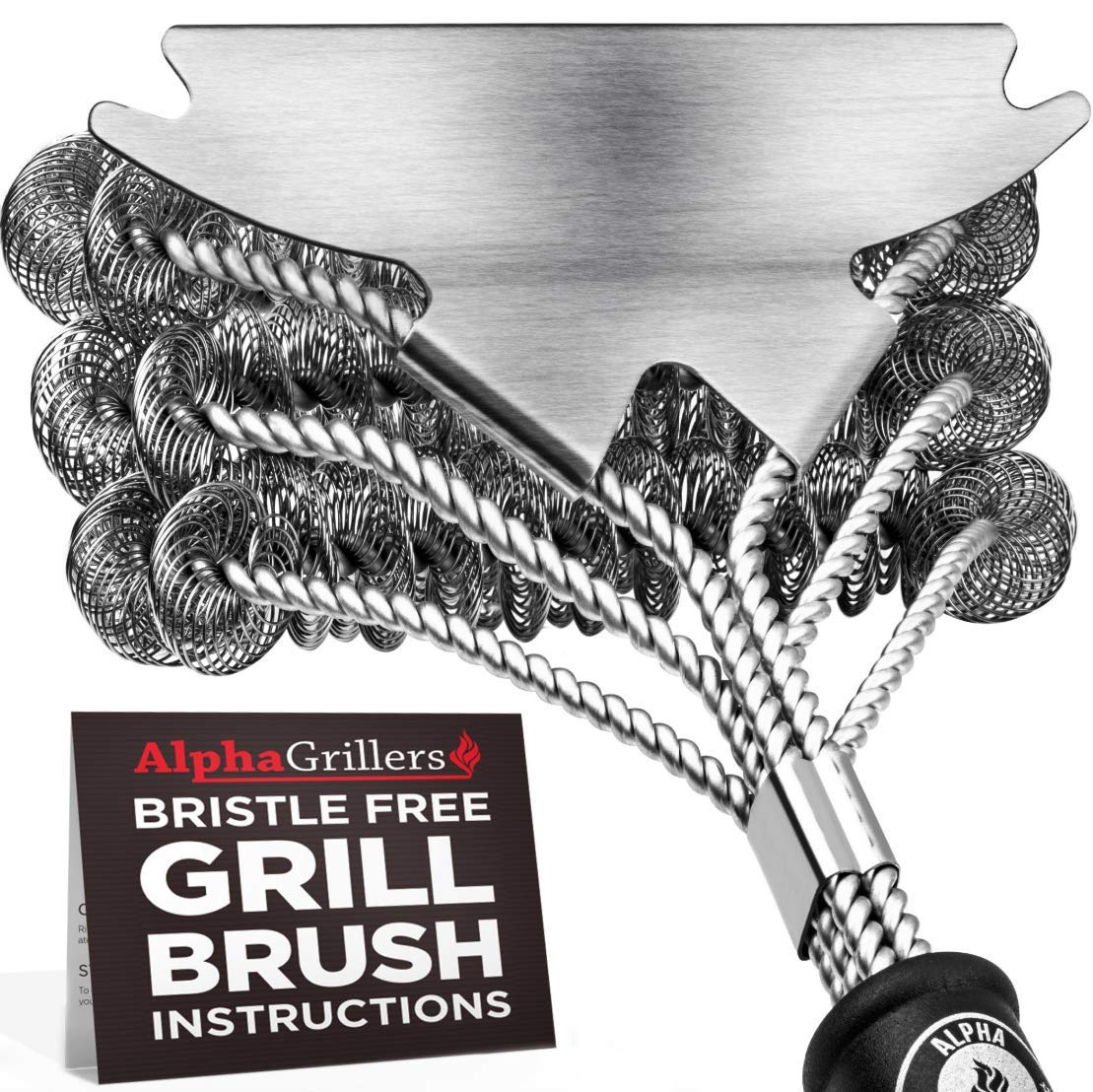 Alpha Grillers Grill Brush Bristle Free. Best Safe BBQ Cleaner with Extra Wide Scraper. Perfect 18 Inch Stainless Steel Tools for All Grill Types, Including Weber. Ideal Barbecue Accessories by Alpha Grillers