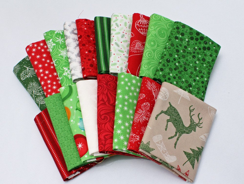 Field's Fabrics 10 Fat Quarters - Assorted Patrick Lose Christmas Cheer Holiday Winter Wonderland Winterlude Red Green White Quality Quilters Cotton Fabric Stash-Building Bundle M222.18 Field' s Fabrics 4336920107