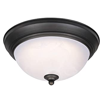 Westinghouse 64006 Lámpara de Techo de 28 cm para Interiores con LED Regulable, Acabado en Bronce aceitado con Cristal de alabastro Blanco, 15 W, 28 ...