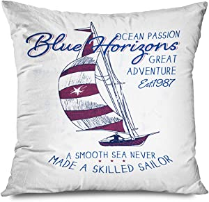 Onete Throw Pillow Cover Square 18x18 Inches Old Watercolor Boat Sailboat Graphic Beauty Sail Vintage Adventure Boating Emblem Retro Holiday Decorative Cushion Pillow Case Home Decor Pillowcase