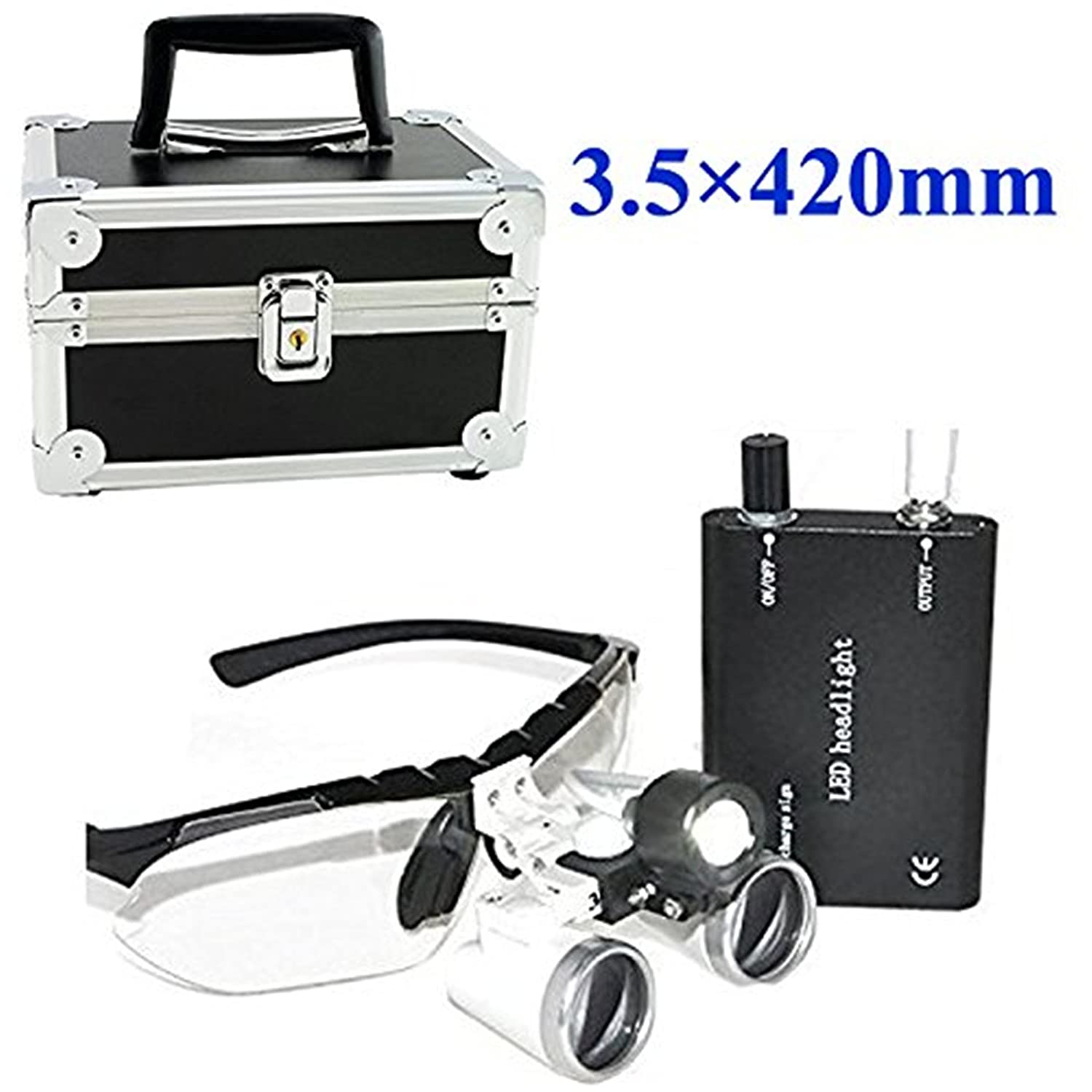 Denshine® Dental Medical Surgical Binocular Loupes Optical Glass Loupe 3.5x 420mm + LED Head Light Lamp + + Aluminum Case