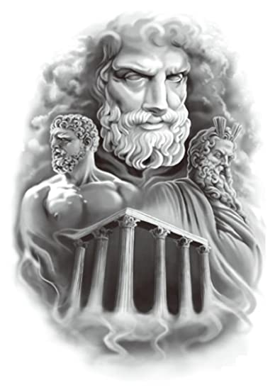 Amazoncom Zeus Greek God Large 825 Half Sleeve Arm Tattoo Chest