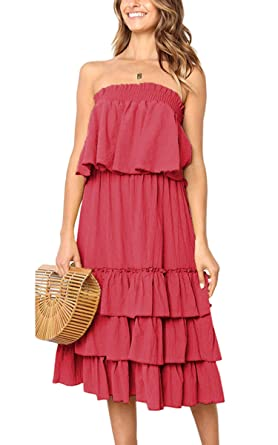 dda7233bce24 Ecowish Women s Tiered Skirt Set Ruffles Off Shoulder Sleeveless Flounce  Pleated 2 Piece Outfit Tube Dress