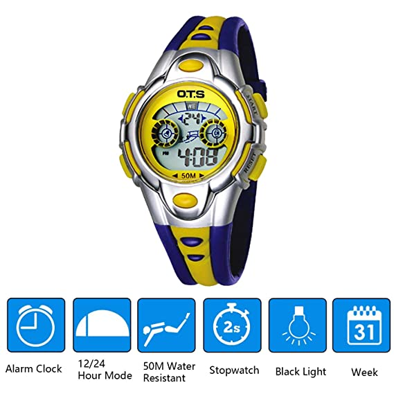 OTS - Reloj Digital Deportivo Impermeable Luminoso de Cuarzo con Alarma para Niños y Estudiantes - Color Amarillo: Amazon.es: Relojes