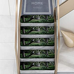 7-Pack Art Design Home Stair mat Printed Stair Carpet Flannel Non Slip Carpet A Gorilla is in The woodsblack Green Safety Slip Resistant Stair mat Protection Elders, Children,Dogs,pet