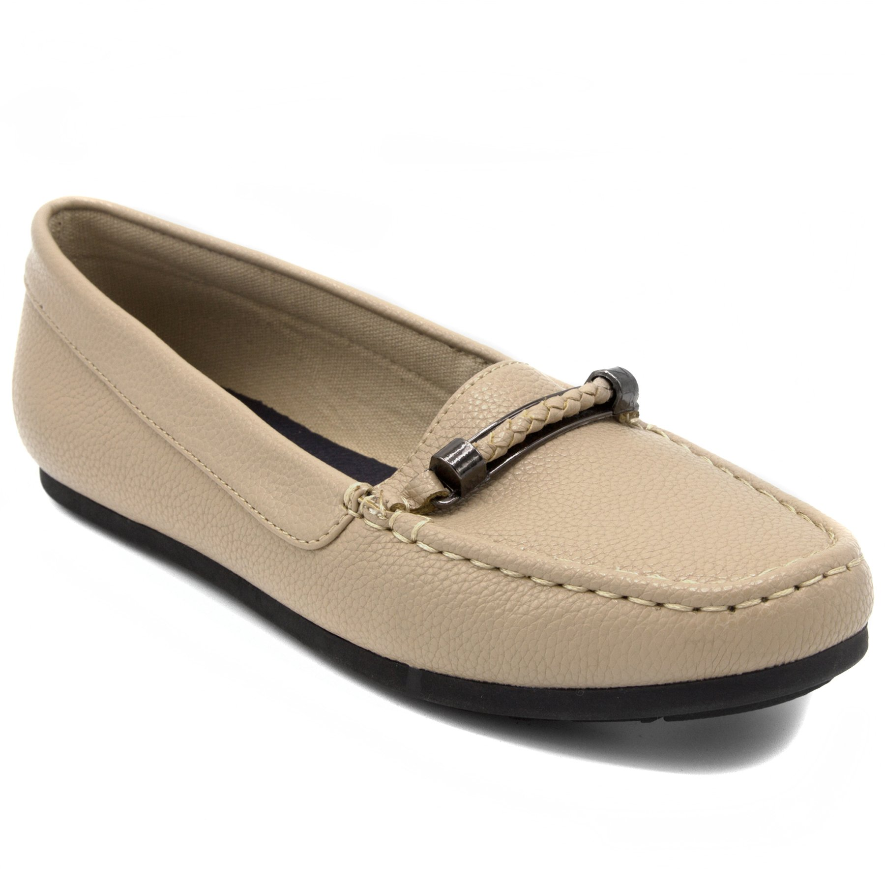 Nautica Women's Beckington Loafer with Braided Buckle Fashion Shoe Taupe Tumbled-9.5 by Nautica