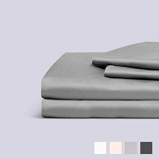 Stripe Luxury King Size Bed Sheet Set 100/% Cotton 1000 Thread Count Light Grey
