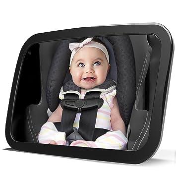LanChuon Espejo de coche de bebé de seguridad para el asiento trasero, actualizado a gran altura y establo trasero frente a asiento de coche Bebé a la ...