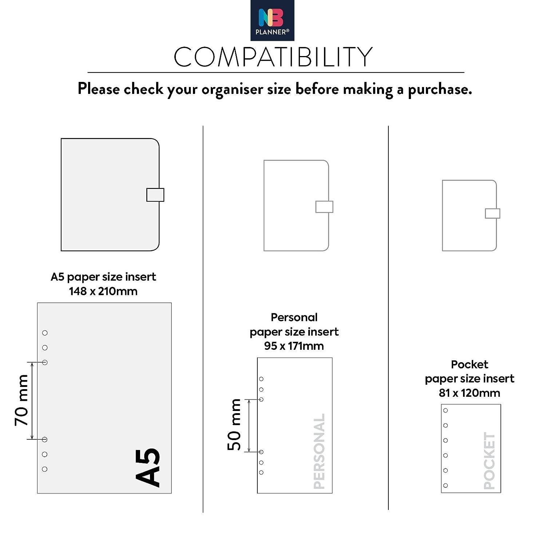 Inserti di ricambio per agenda per annotare siti web e password NBplanner compatibili con Filofax colorati in lingua inglese Personal: 95 x 171mm