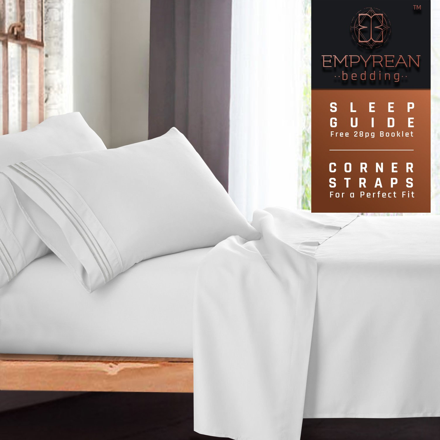 Premium Full (Double) Size Sheets Set - White Hotel Luxury 4-Piece Bed Set, Extra Deep Pocket Special Super Fit Fitted Sheet, Best Quality Microfiber Linen Soft & Durable Design + Better Sleep Guide by Empyrean Bedding (Image #9)