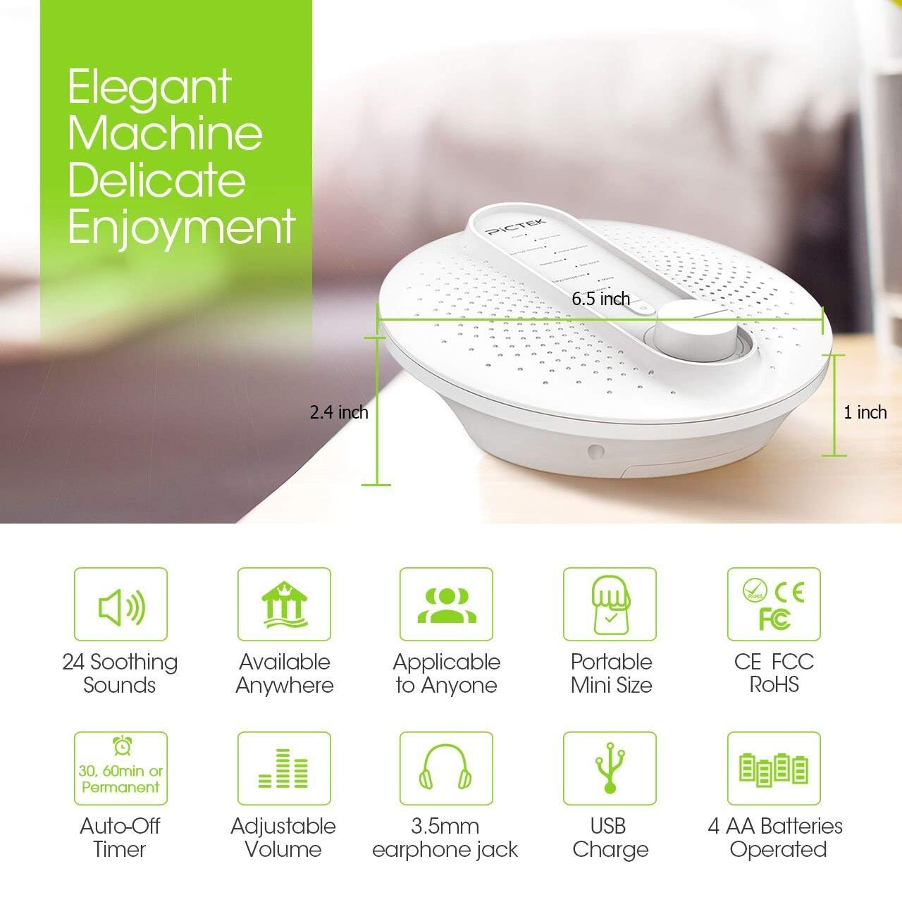 Sound Machine Pictek White Noise Macine With 24 Operated Flip Flop Soothing Natural Sounds Sleep Therapybaby Soothers Timer For Travel Relaxing