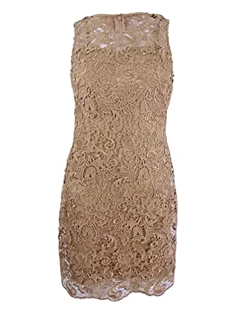 e682d1e78c507 Calvin Klein Women s Petite Lace Sheath Dress Beige 4P at Amazon Women s  Clothing store