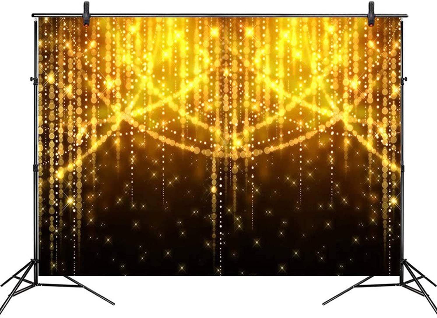 COMOPHOTO 7x5ft Glitter Gold Backdrop Golden Spots Birthday Black Background Party Vintage Abstract Wedding Bday Photo Booth Backdrops Party Decorations Banner Supplies