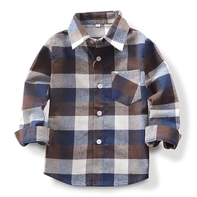 6b835cf69d8dd OCHENTA Niño Camisas de Manga Larga a Cuadros para Niñas Corta con Botones  para Niños  Amazon.es  Ropa y accesorios