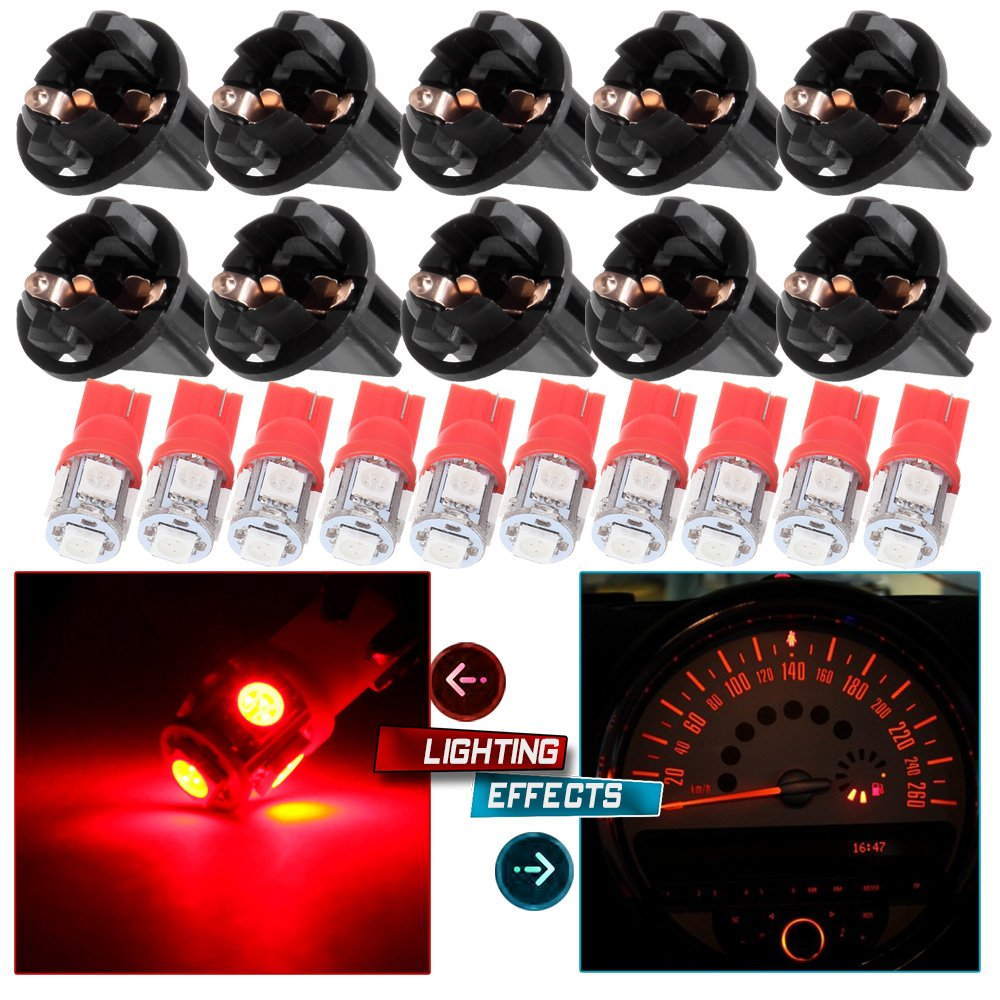 cciyu 10 Pack Red T10 168 184 5-5050-SMD LED Bulbs Replacement fit for Car interior Dome Map Trunk License plate lplight w//Socket
