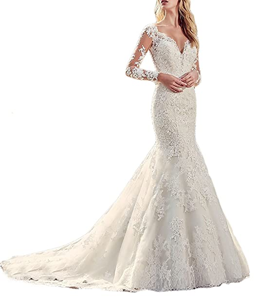 Asoiree Sheer Back Buttoned Lace Mermaid Wedding Dresses