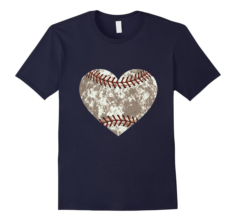 Baseball Distressed Heart T-Shirt Cute Mom Love Tee-CD